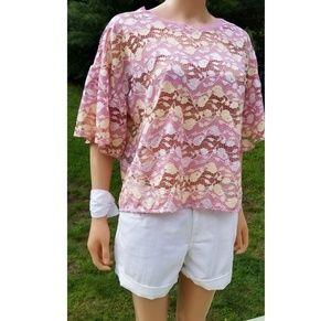 Zara W/B Blush Pink Lace top, L NWT